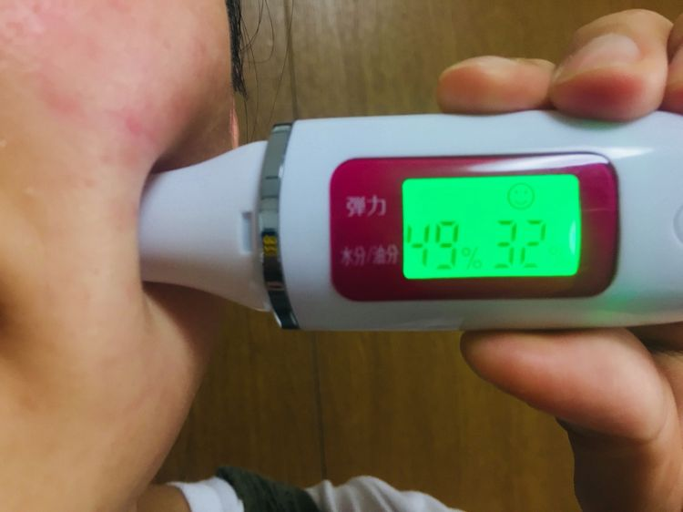 メディプラスゲルを使って2時間後の肌の数値