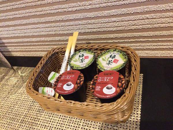 部屋の飲み物(コーヒー、日本茶)