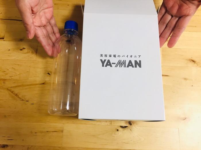 RFボーテのパッケージのサイズ感(500mlのペットボトルと比較)