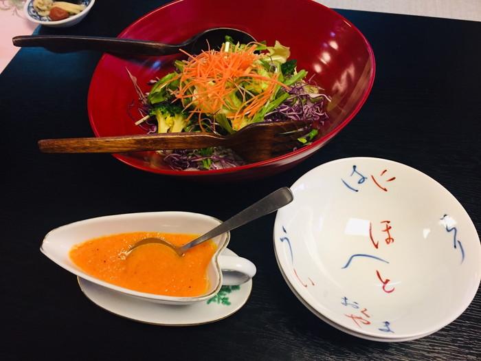 塩原温泉の旅館「湯の花荘」の朝食-サラダ
