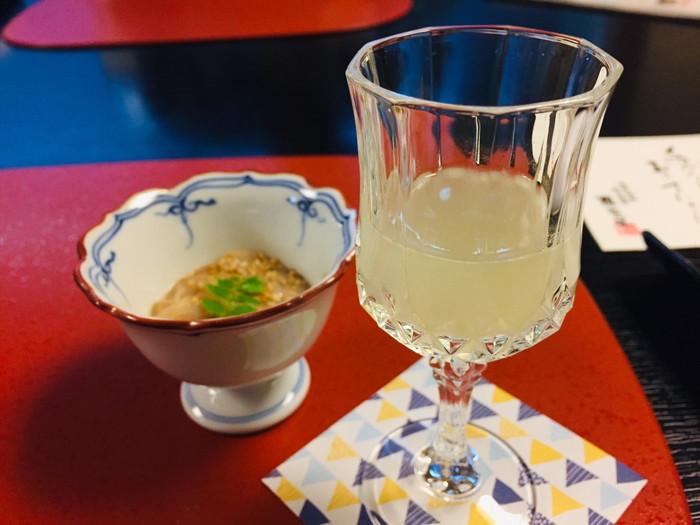 塩原温泉の旅館「湯の花荘」の夕食-食前酒