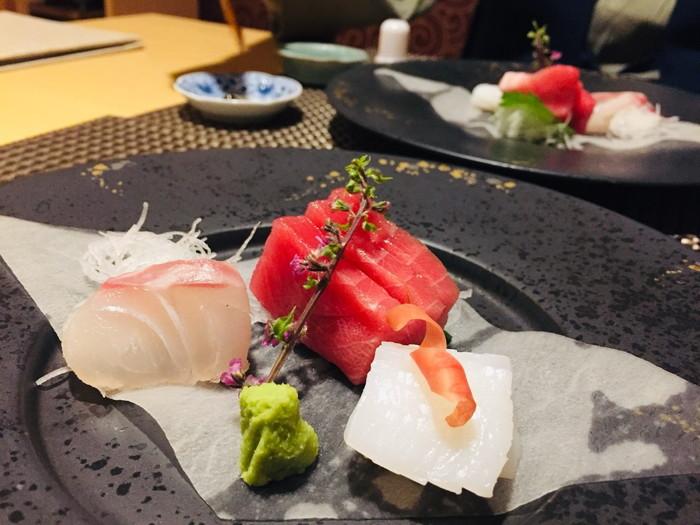 箱根湯宿 然-ZEN-の夕食の向付(お造り)