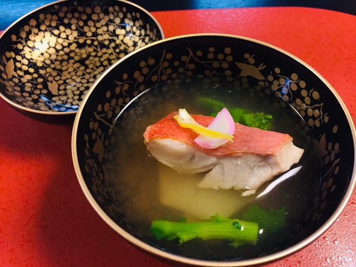 塩原温泉の旅館「湯の花荘」の夕食-お椀