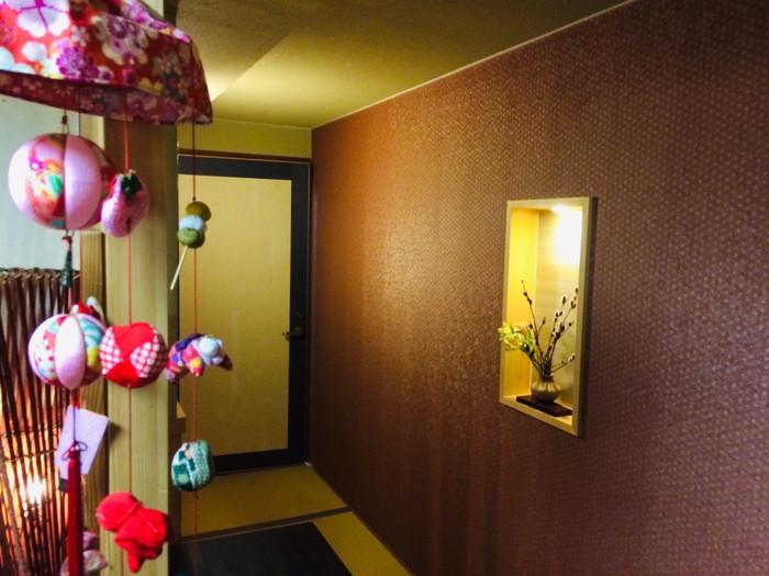 塩原温泉の旅館「湯の花荘」の夕食-食事開場の入り口