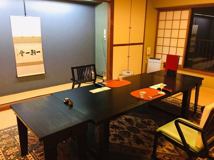 塩原温泉の旅館「湯の花荘」の夕食-完全個室