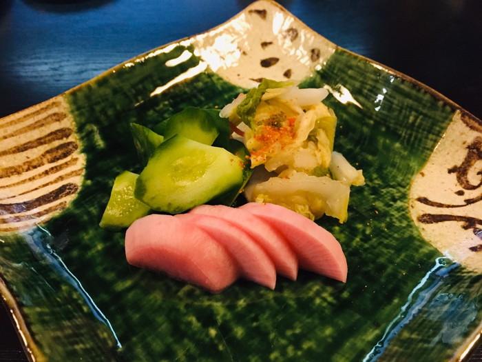 塩原温泉の旅館「湯の花荘」の夕食-食事(お新香)