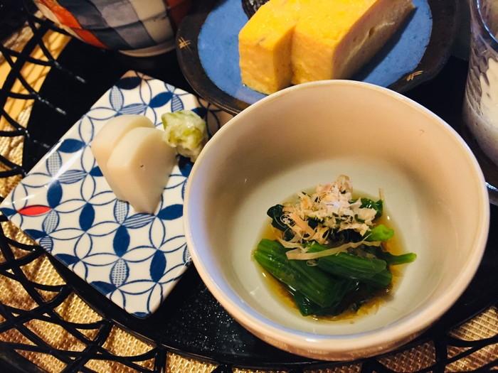 箱根湯宿 然-ZEN-の朝食のホウレンソウのお浸し