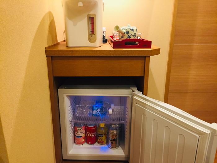 塩原温泉の旅館「湯の花荘」の冷蔵庫(フリー)